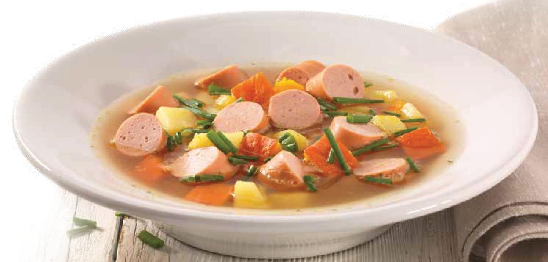 Dýňová polévka s bramborem a vídeňským párkem