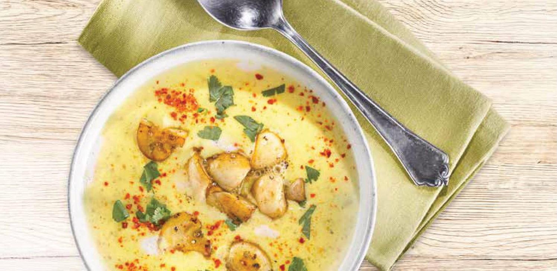 VDýňovo-kokosová polévka se špaldou a žampióny