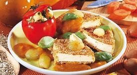 Řízek z tofu s dýň. omáčkou